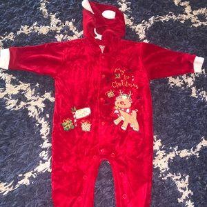 Hooded velvet my first Christmas 6/9mo